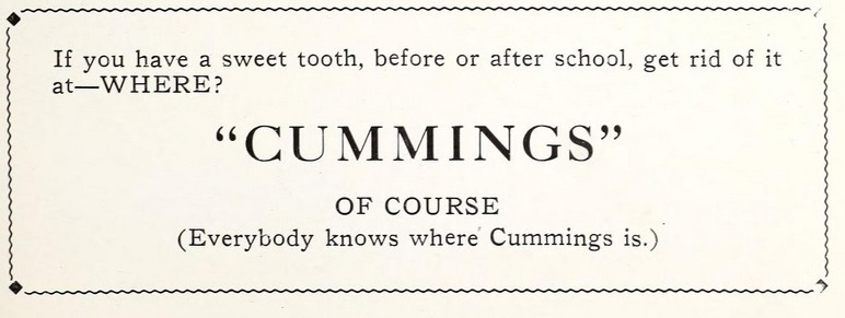 Cummings advertisement, 1922