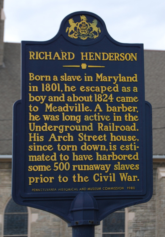 Historical marker in Meadville commemorating Richard Henderson, the barber who Jacob Peck apprenticed with in the 1850s.