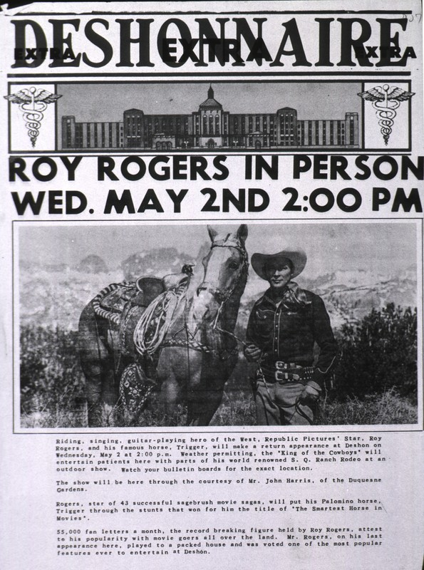 Advertisement of Roy Rogers at the Deshon General Hospital
