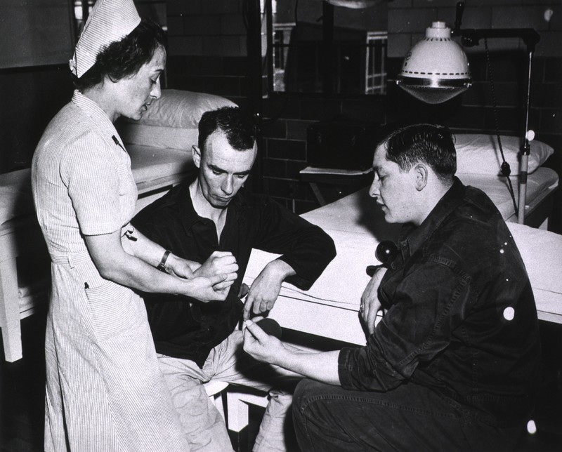 Physical Therapy Department, Deshon General Hospital, Butler, Pennsylvania: Instruction in re-education of hand and finger muscles